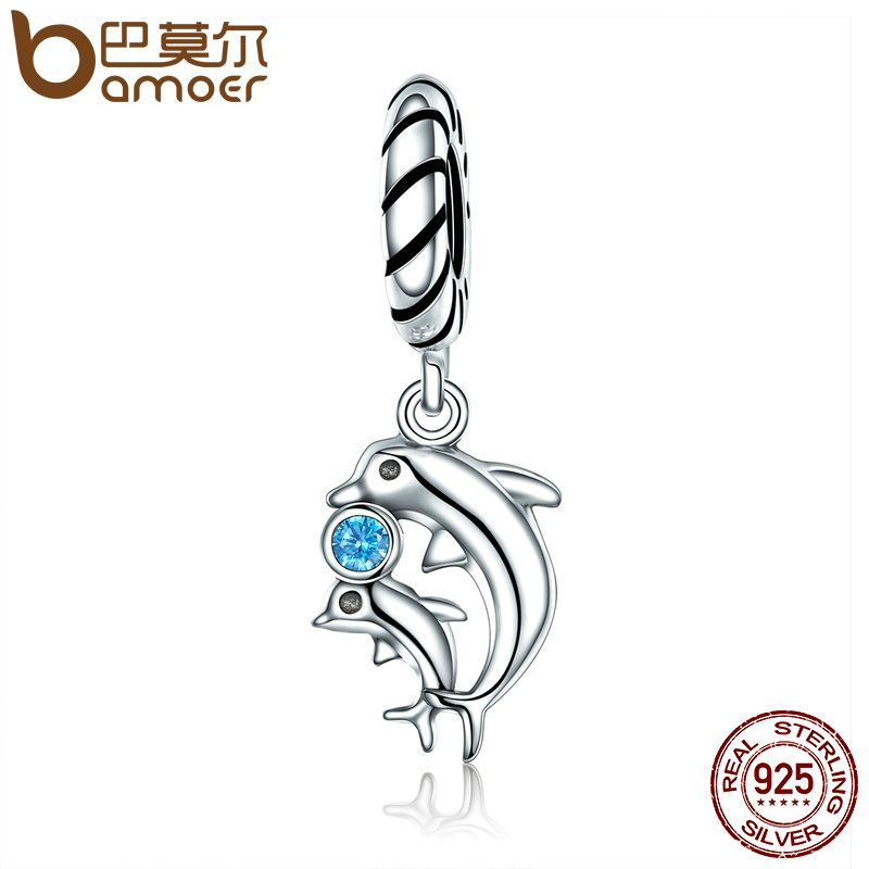 BAMOER Authentic 100% 925 Sterling Silver Dolphins Story with Clear CZ Charms fit Bracelet & Necklaces Women Jewelry SCC264