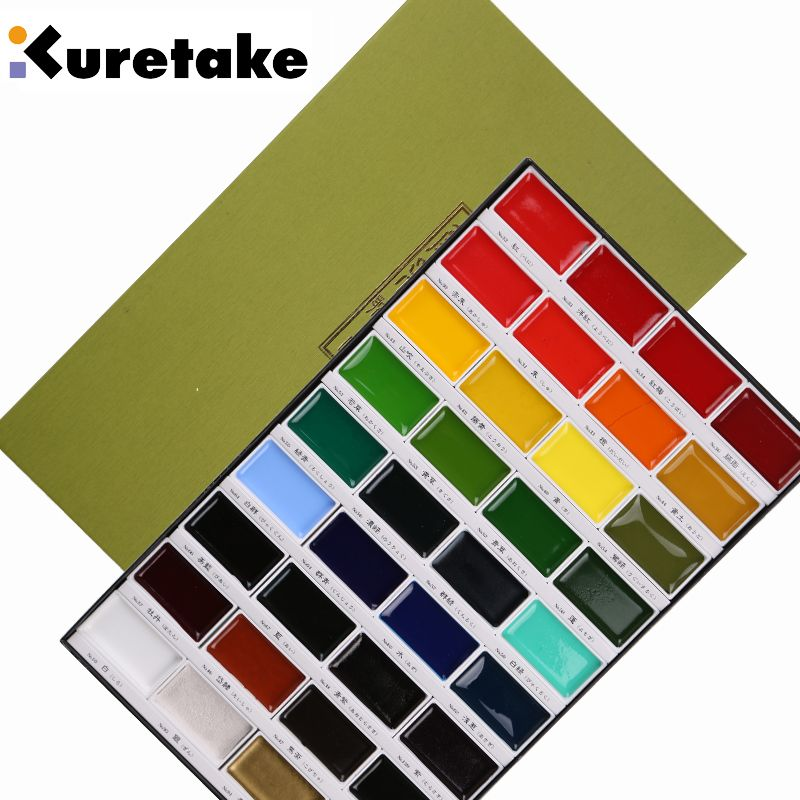 Freeshipping professionnel niveau Soluble aquarelle peinture rock solide pigment 36/24/18/12 couleurs Kuretake Sakura rare couleurs