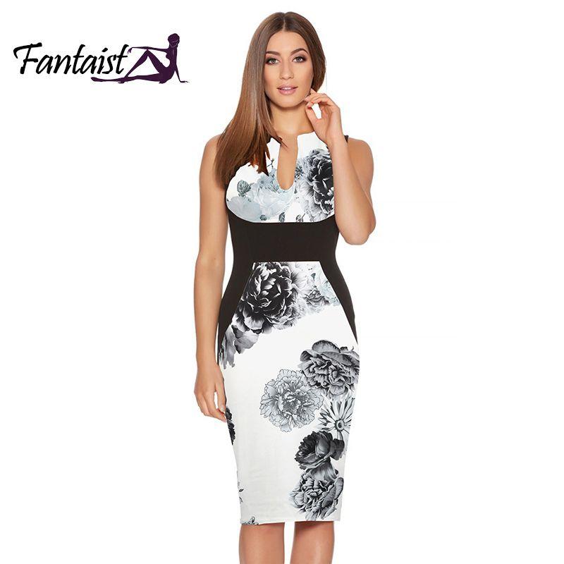 Fantaist 2017 robe d'été femmes Costume Vestidos Mujer Vintage élégant Floral imprimé Patchwork Sexy mariage travail gaine robe