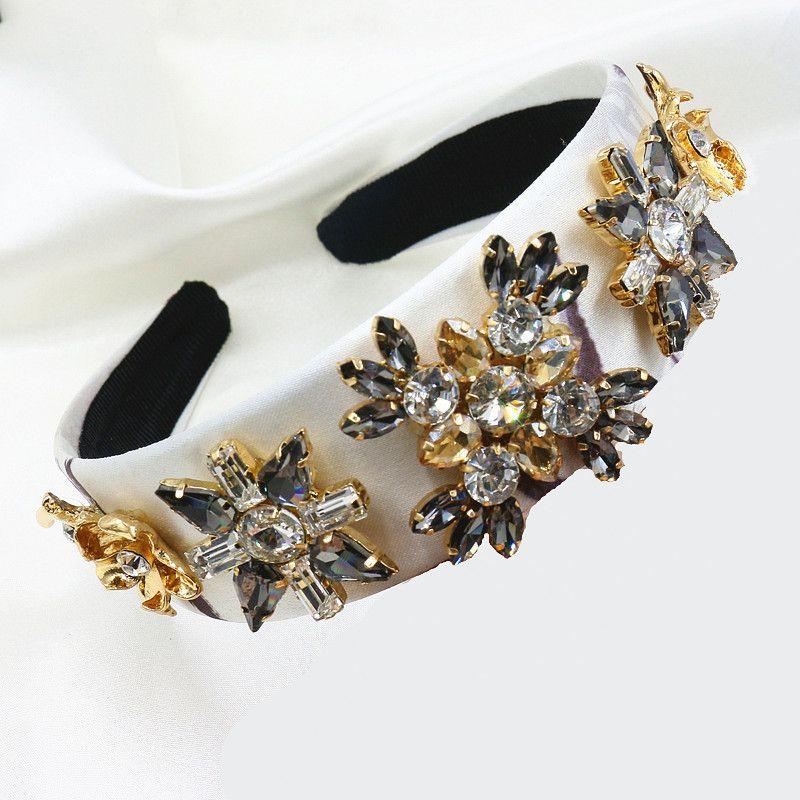 Baroque luxury rhinestone crystal headband for women bridal hair accessories jewelry runway bijoux retro headwear