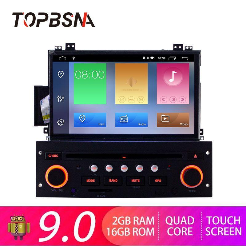TOPBSNA 7 zoll 1 DIN Auto DVD Player Android 9.0 Für Citroen C5 GPS Navigation Bluetooth RDS Lenkrad-steuerung WIFI navi SWC