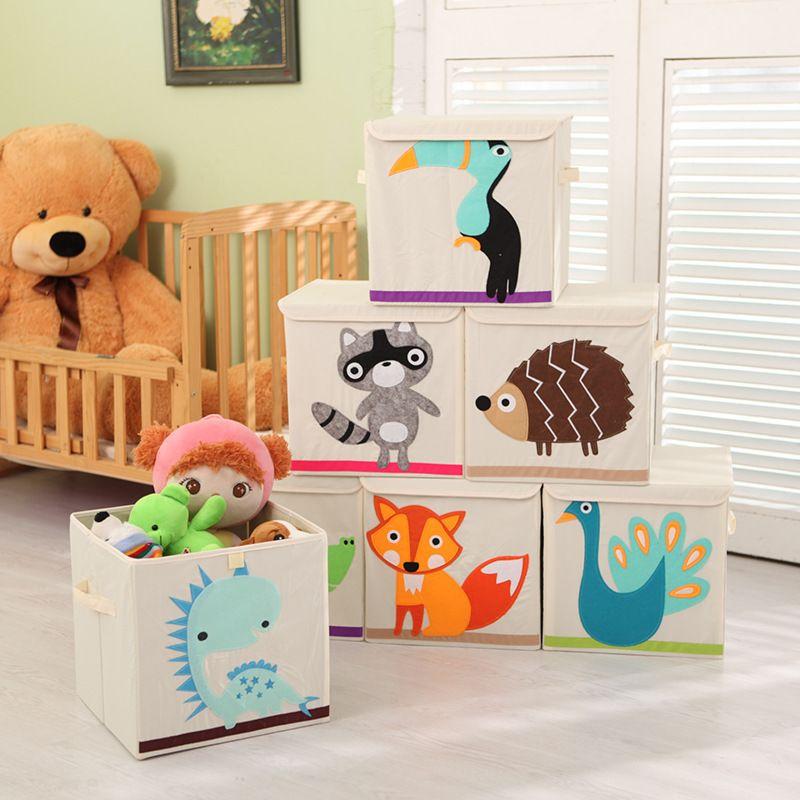 QUBABOBO Multifunction Toys Storage Box Toys Clothing Organizer Boxes Toy Storage Foldable Books Organizer With Cap 33*33*33cm