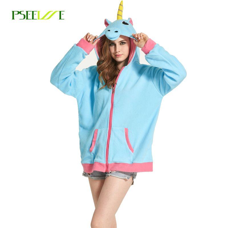Nouveau Nouveauté Femmes Hoodies De Mode de Bande Dessinée licorne Sweatshirts Survêtements Femmes gardigan hoodies Fille D'hiver mignon Veste À Capuche