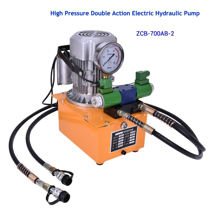 High Pressure Double Action Electric Hydraulic Pump with electron magnetic valve With pedal 1400 (r/min) 0.9(L/min) ZCB-700AB-2