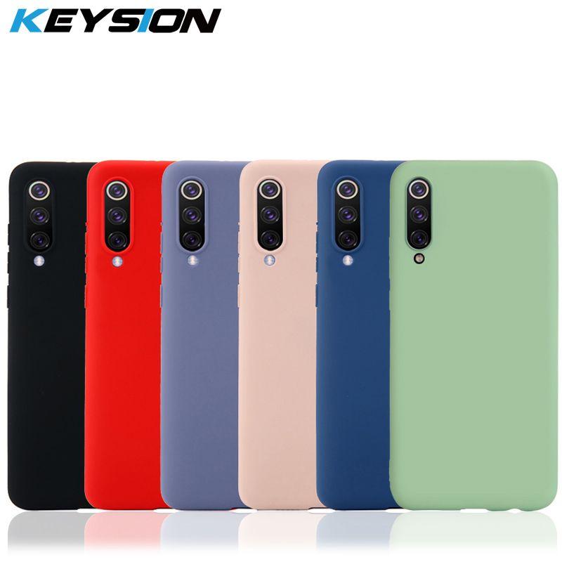 KEYSION Original Thin Liquid Silicone Case for Xiaomi Mi 9 8 A2 MIX 3 2S Gel Rubber Phone Cover Protective Case for Redmi Note 7