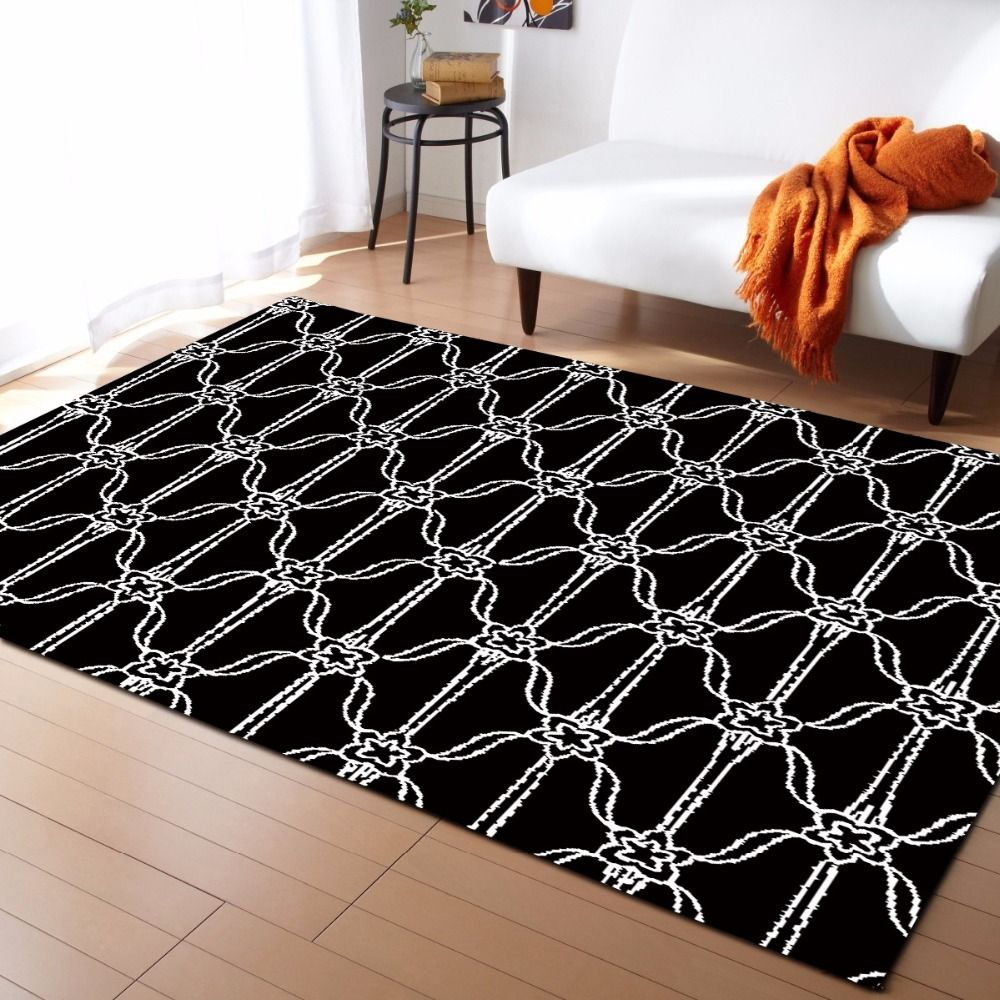Europen Style Plaid Geometry Flannel Velvet Memory Foam Larger Carpet Play Game Mats Baby Craming Bed Rugs Parlor Decor Area Rug