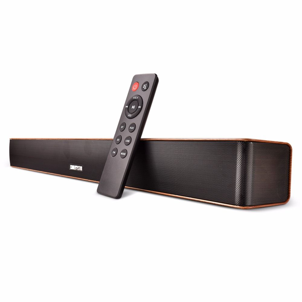 Wireless SoundBar Wooden 24W Portable Mini Sound bar With Remote AUX USB FM Bluetooth Speaker for PC Meeting Yoga Party Outdoor