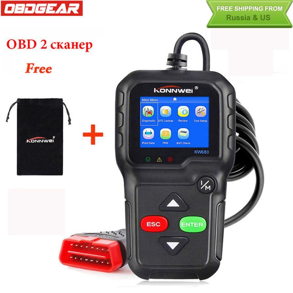 2018 Best OBD2 Car Diagnostic Scanner KONNWEI KW680 Full OBD2 Function OBD2 Autoscanner Multi-language OBD2 Automotive Scanner