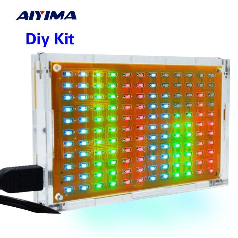 Aiyima LED Музыка анализатор спектра аудио измеритель уровня/MP3 PC Усилители домашние звуковой индикатор DIY Наборы