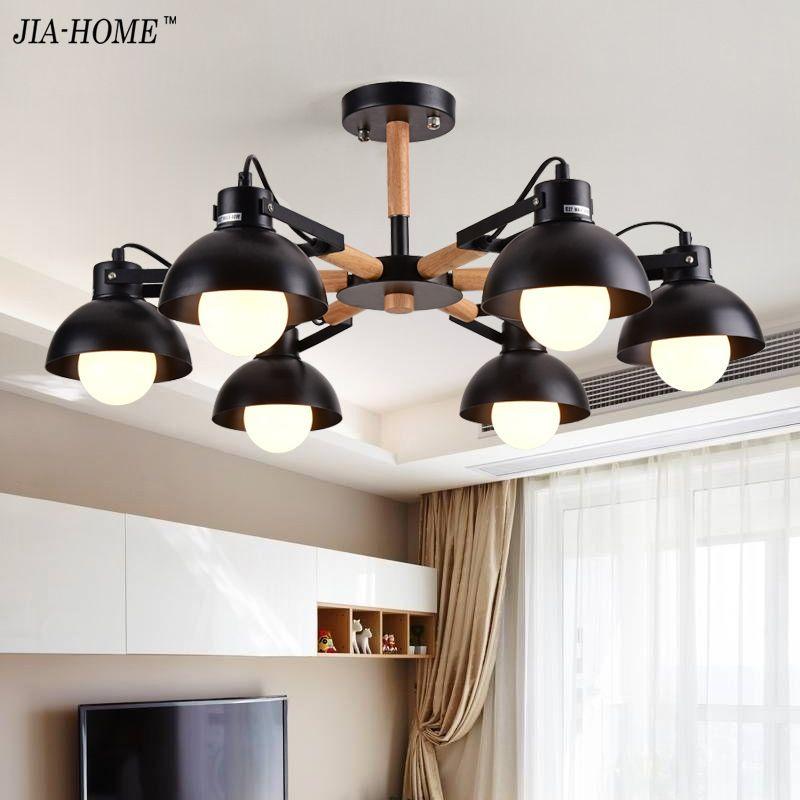 Chandeliers Lights Lamp for bedroom living room study room white black body Lamparas Lighting De Techo Home Lighting Fixtures