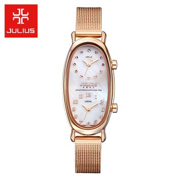 Double Time Zone Shell Gemini Women's Watch Japan Quartz Hours Fine Fashion Dress Steel Bracelet Girl Birthday Gift Julius Box