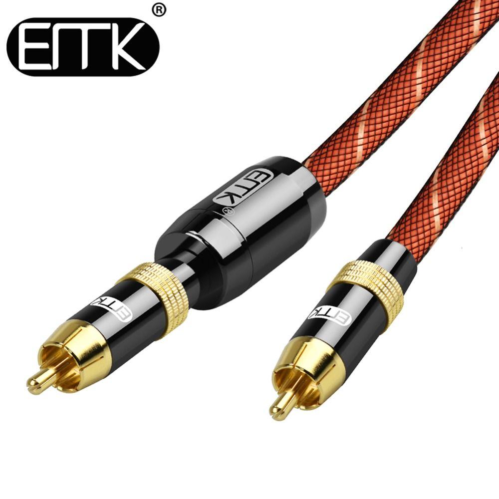 EMK RCA à RCA Mâle à Mâle Numérique Coaxial Câble Stéréo Audio Câble OD8.0 Tressé 3 m 5 m 10 m RCA Vidéo Câble pour TV Amplificateur