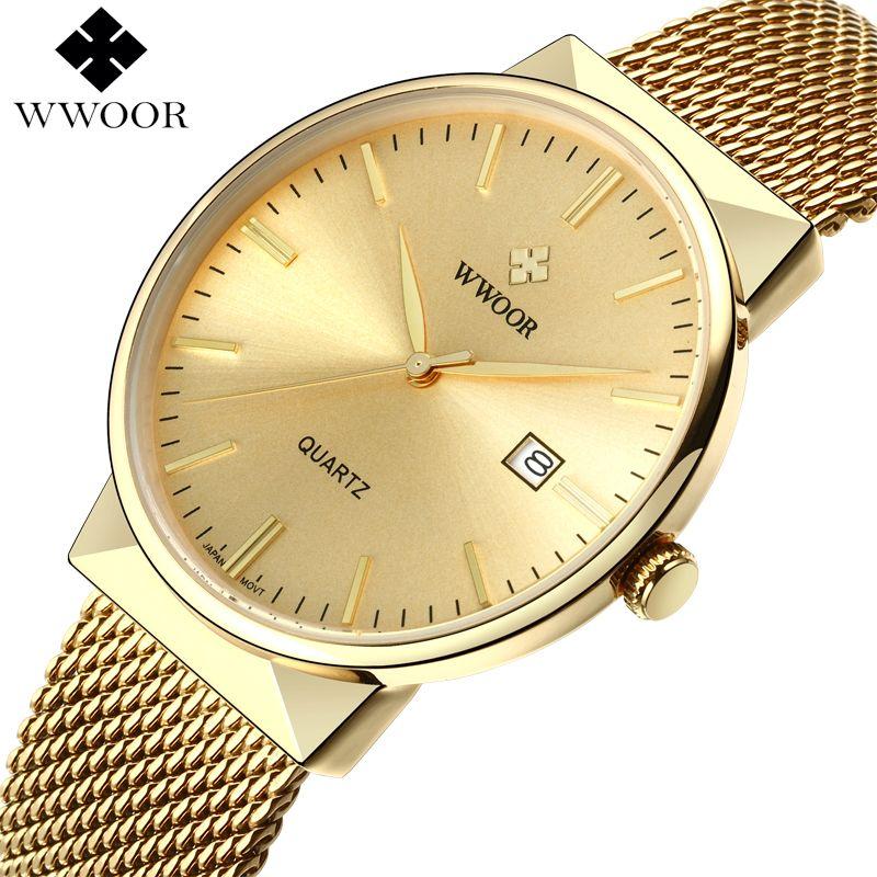 WWOOR hommes étanche affaires montre à Quartz hommes montres Top marque de luxe or en acier inoxydable Sport montre-bracelet mâle analogique horloge