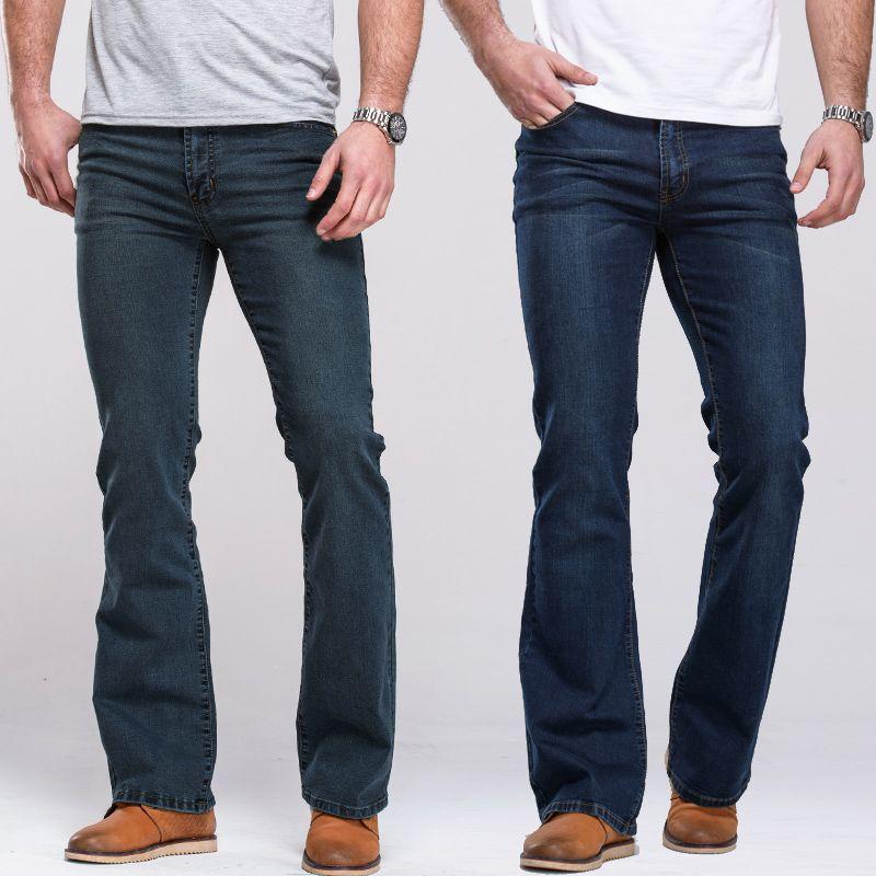 Mens jeans boot cut leg slightly flared slim fit famous brand blue black male jeans designer classic stretch denim Jeans
