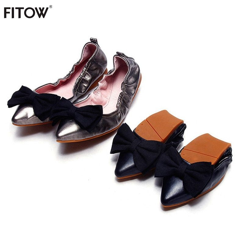 Women's Fashion Pointed Toe Ballerina Women Shoes Genuine Leather Ballet Flats Foldable Portable Travel Flats for Women