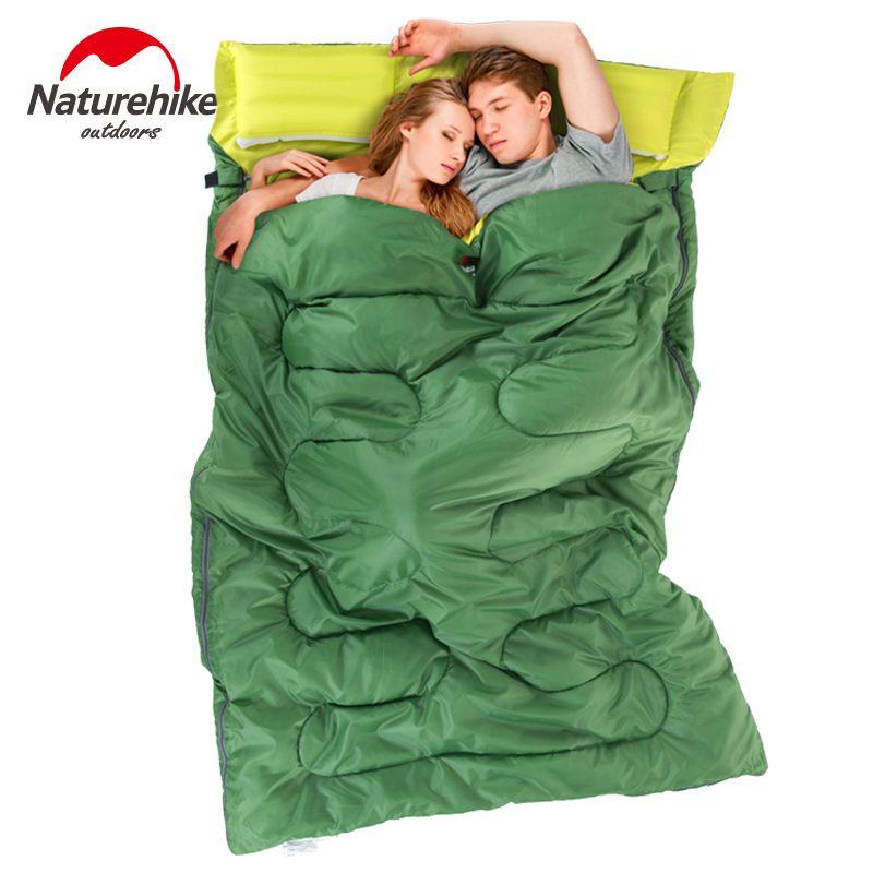 Naturehike 2,15 mt * 1,45 mt Im Freien Doppelschlafsack Umschlag Frühjahr und Herbst Camping Wandern Tragbare Schlafsack mit kissen