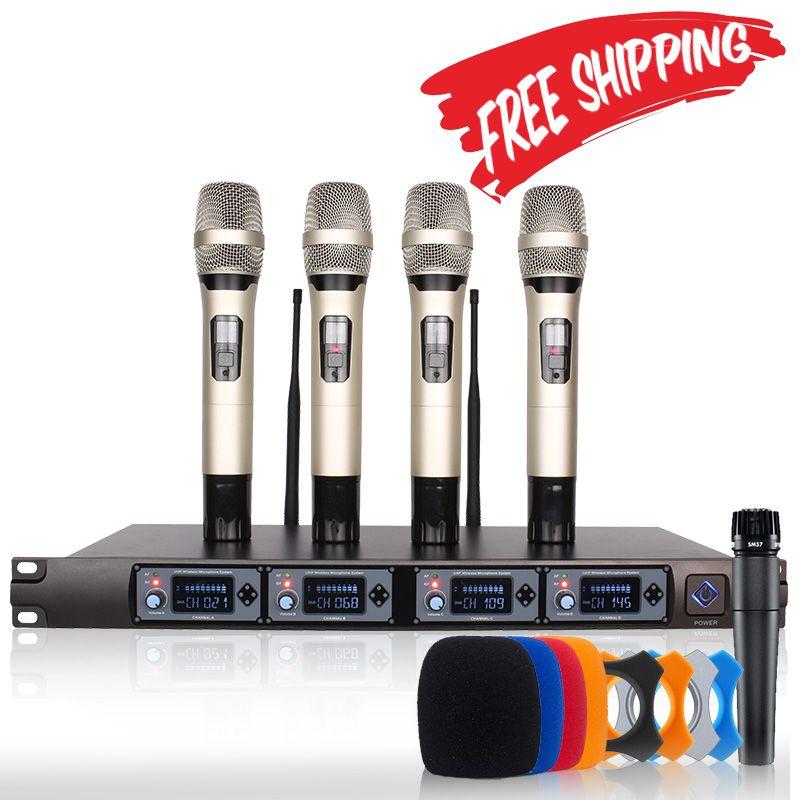Sans fil Microphone Système U4000T Professionnel Microphone 4 Canaux UHF Dynamique Professionnel 4 De Poche Microphone + Karaoké