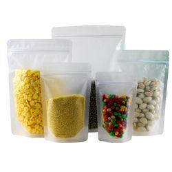 Beku Bening Plastik Risleting Mengunci Tas Kemasan Penyangga Hingga Kantung Resealable Doypack Ritsleting Makanan Kacang Kopi Penyimpanan Kemasan Tas