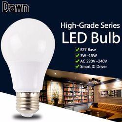 Nyata Watt Bermutu Tinggi LED Bola Lampu E14 E27 LED Lampu 7 W 9 W 12 W 15 W Eco 5 W 220 V SMD 2835 5730 lampu LED Lampara Bombilla ampul