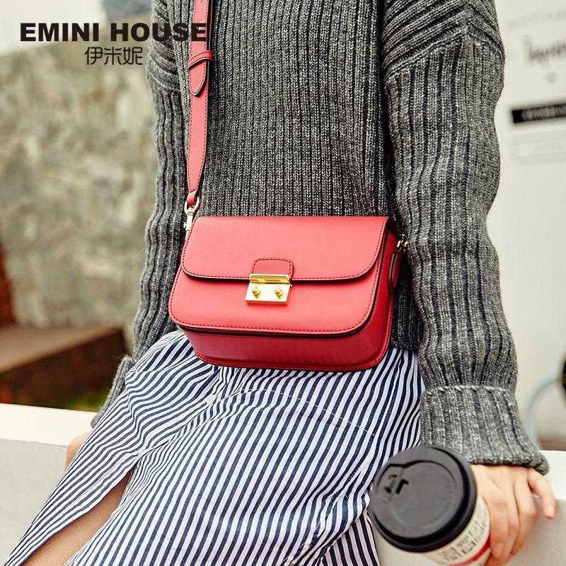 EMINI HOUSE Vintage Flap Padlock Bags Split Leather Women Shoulder Bag Fashion Crossbody Bags High Quality Women Messenger Bag