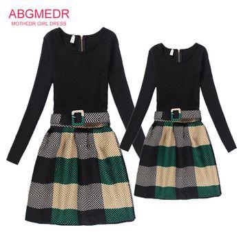 Autumn 2017 Teenage Girls Dresses Mother Daughter Dress Kids Children Clothing Girls Family Look Matching Clothes Mae e Filha