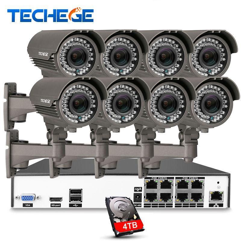 H.265 8CH 5MP 48 V PoE NVR 8 unids Real 2.8-12mm zoom lens 4.0MP Sistema de Cámara IP POE P2P Nube cctv Sistema PC Soporte Móvil Ver