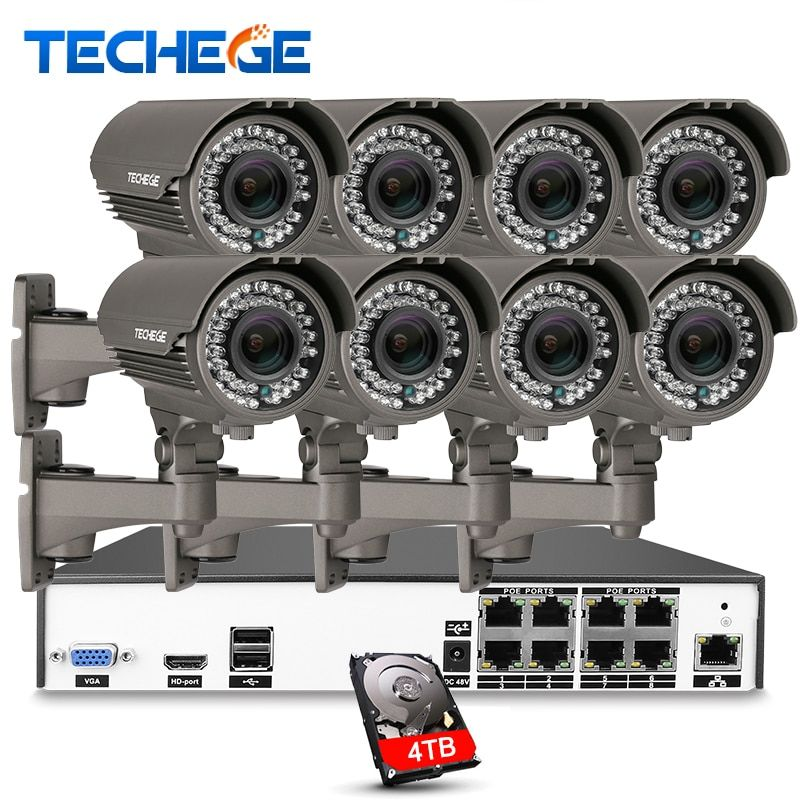 Techege H.265 8CH 5MP PoE NVR 8pcs 2.8-12mm Maunal lens 4.0MP IP Camera POE System P2P Cloud cctv System Support PC Mobile View