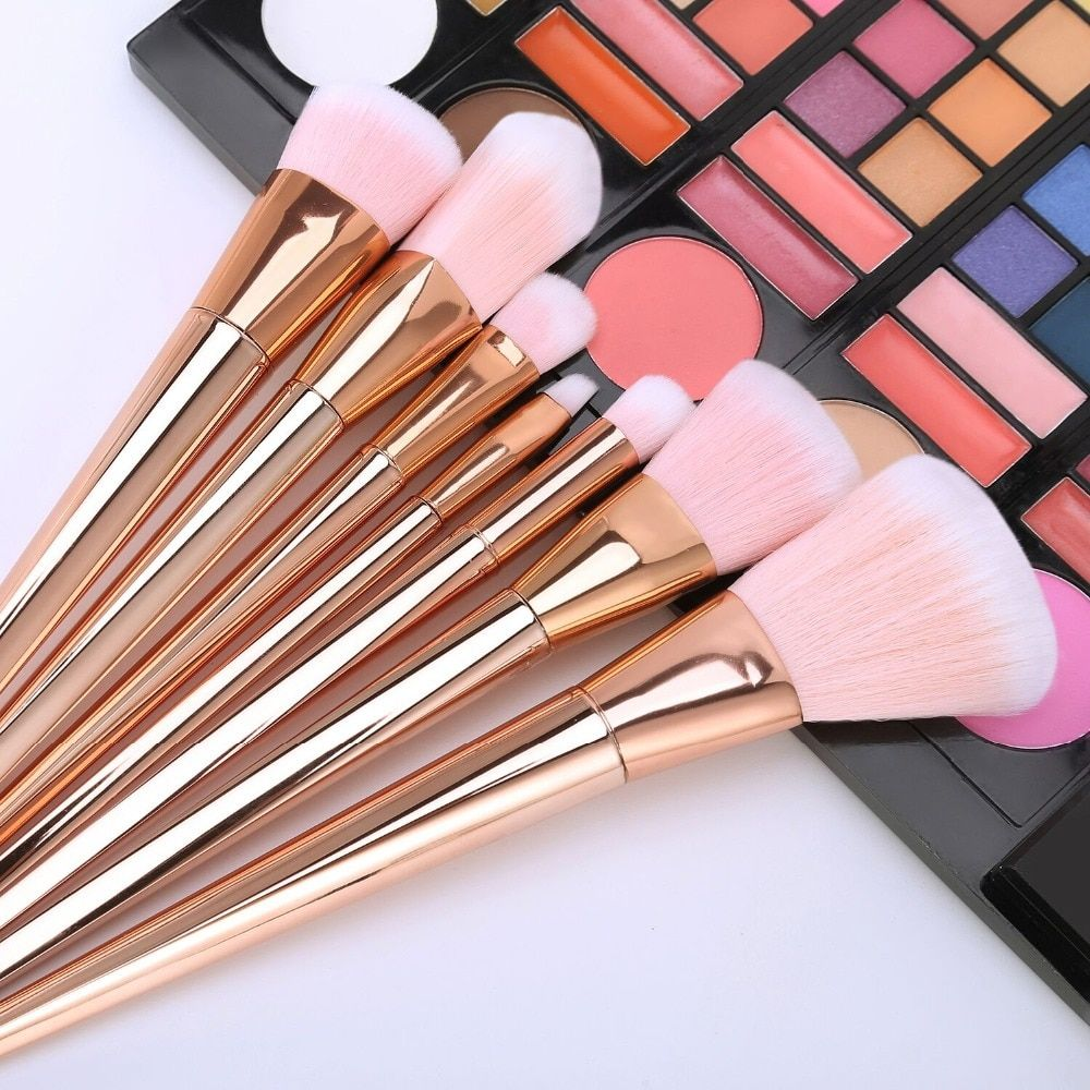 2017 New 7pcs Makeup Brushes Set Powder Foundation Eyeshadow Lip Brushes Professional Rose Gold Make Up Brush Kit Cosmetics Tool