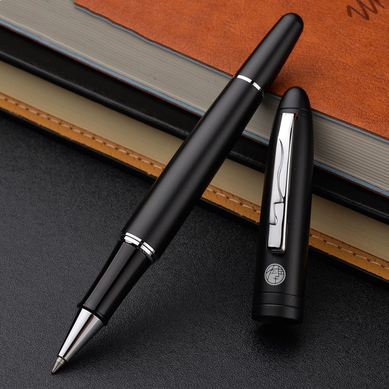 High Quality Picasso Pimio Silver Clip Matte Black Rollerball Pen 0.5mm Black Ink Sign Pens with An High-end Box Christmas Gift