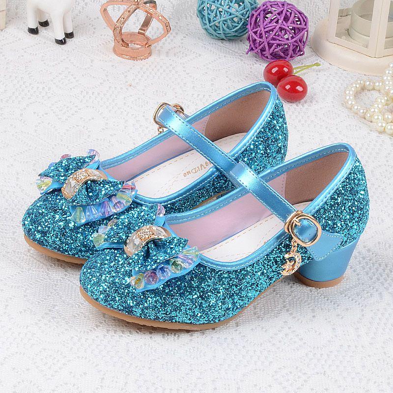 Enfants de Paillettes Chaussures Enfants 2018 Bébé Filles De Mariage Princesse Enfants Talons Partie De Robe Chaussures Pour Fille Rose Bleu or