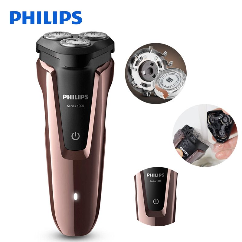 100% Genuine Philips Electric Shaver S1060 Rotary Rechargeable Washable For Men's Electric Razor With Three Floating Heads