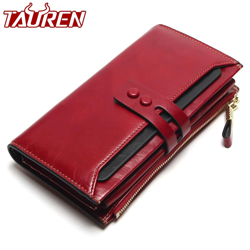 Tauren 2019 New Women Wallets Genuine Leather High Quality Long Design Clutch Cowhide Wallet High Quality Fashion Female Purse