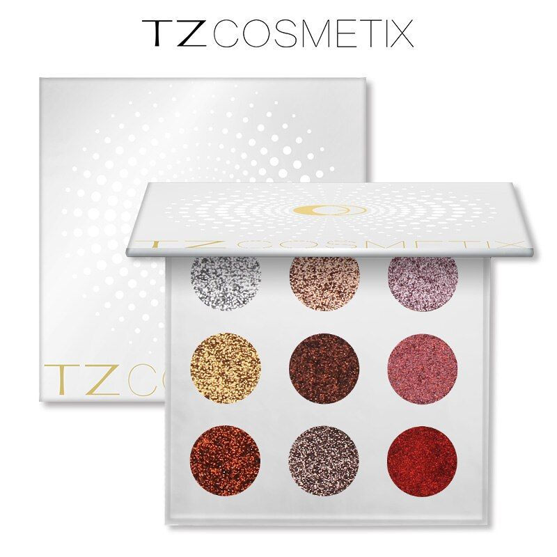 TZ marca 9 Colores Eyeshdow Glitters Glitters Glitter Diamante Presionado Paleta Paleta de Sombra de ojos Maquillaje Cosmético del Envío de La Gota