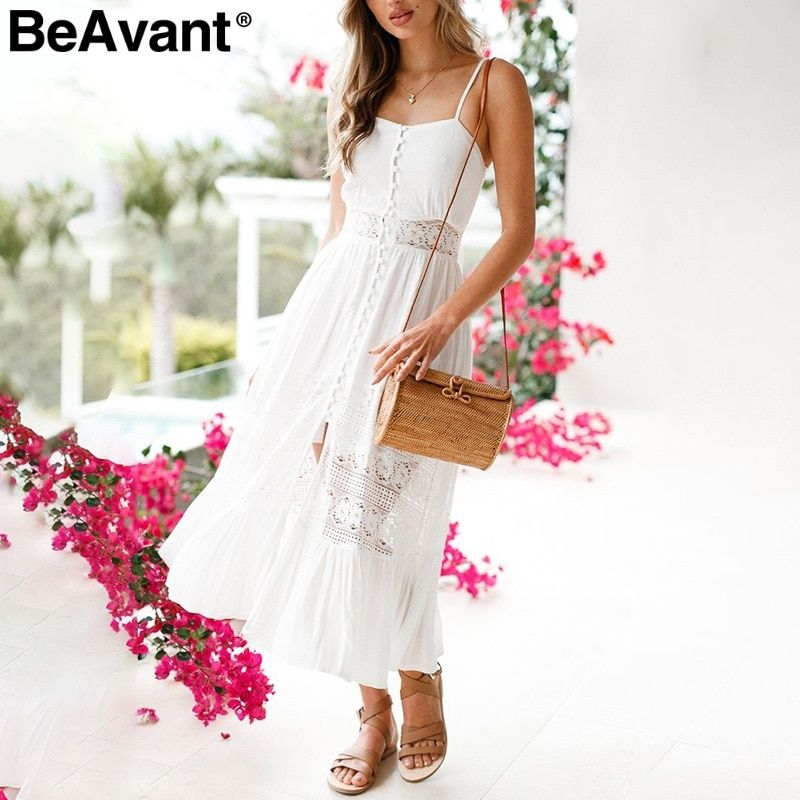 BeAvant Sexy hollow out white lace dress Women casual backless bow summer dress sundress High waist ruffle long dress vestidos