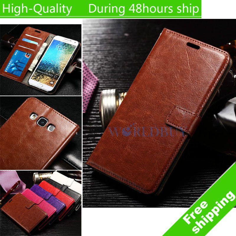 Für Samsung Galaxy J5 J500 J500F Wachs Crazy Horse Flip Leder Mappen-kasten-halter-abdeckung