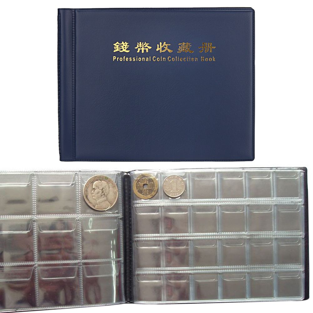10 Pages 180 Coin Album Coin Holder Coin Collecting Album Book Tokens Medallions Badges Storage Pockets Medal Holder Dark Blue