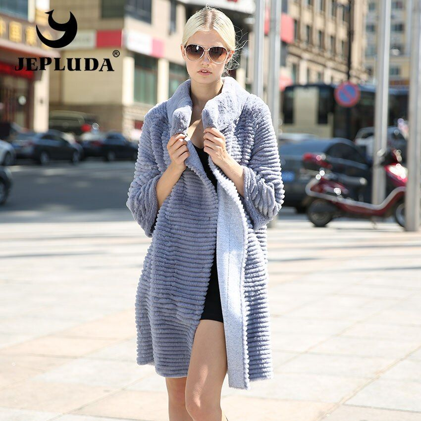 JEPLUDA Luxurious Grace Women Natural Real Fur Coat Knitted Cloth Wool Blends Soft and Warm Real Rex Rabbit Coat Real Fur Jacket
