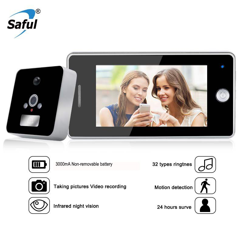 Saful 4.3 Inch LCD Screen Digital Door Peephole Viewer Video Call with TF Card Zinc Alloy Material Electronic Door Bell Camera