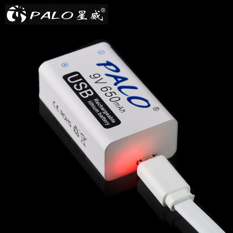 PALO 9V USB lithium Batteries Rechargeable battery 650mah 9v bateria usb for walkie talkie household massager metal detectior