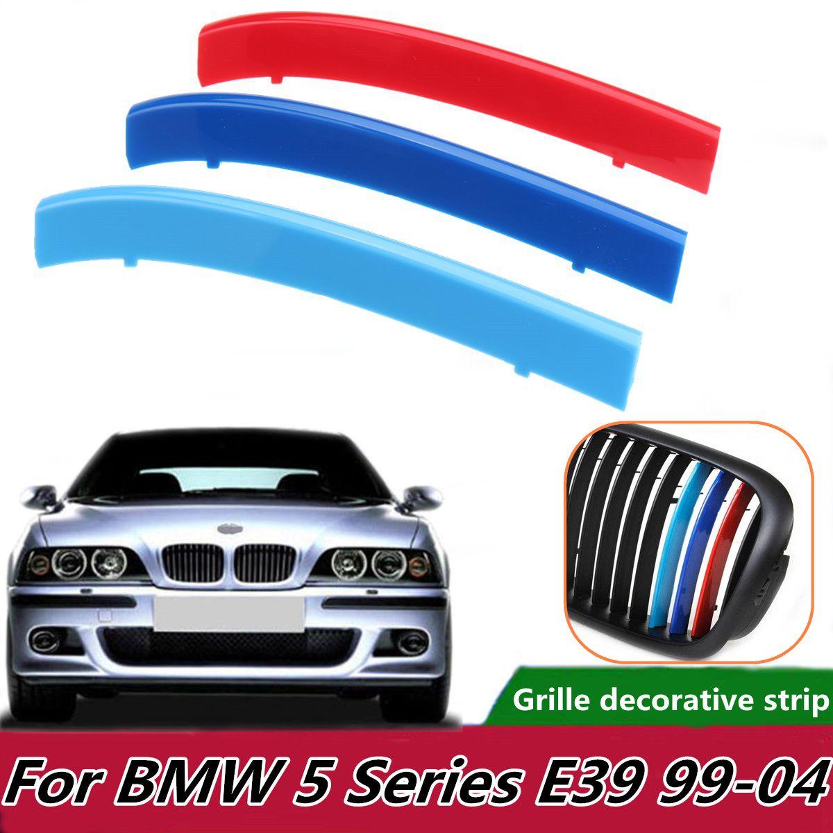 3 stücke Auto Front Grill Sport Streifen Motorsport Power Aufkleber für BMW E39 1999-2004 Grille Trim Befestigen Tri -farbe Streifen Abdeckungen