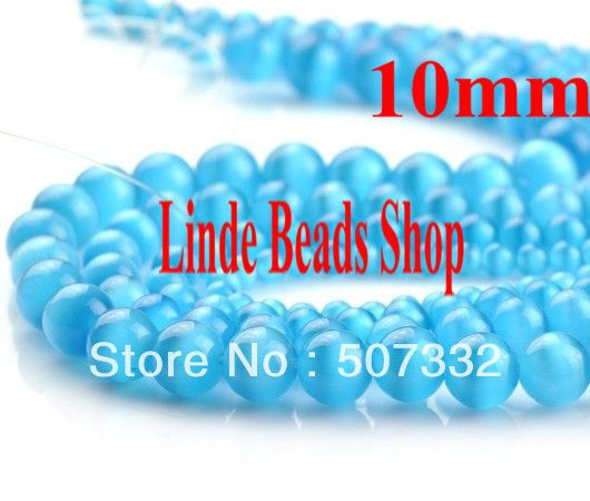 Free shipping! Wholesale 80pcs 10mm round beautiful lake blue Mexican cat eye beads Hot sell loose Beads N0019