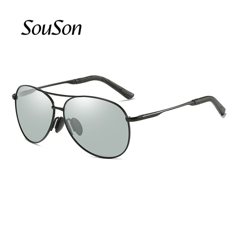 Souson Brand men Sunglasses Polarized aviator outdoor fishing/Driving Sunglasses For Men with Box lens color changeable 2 color