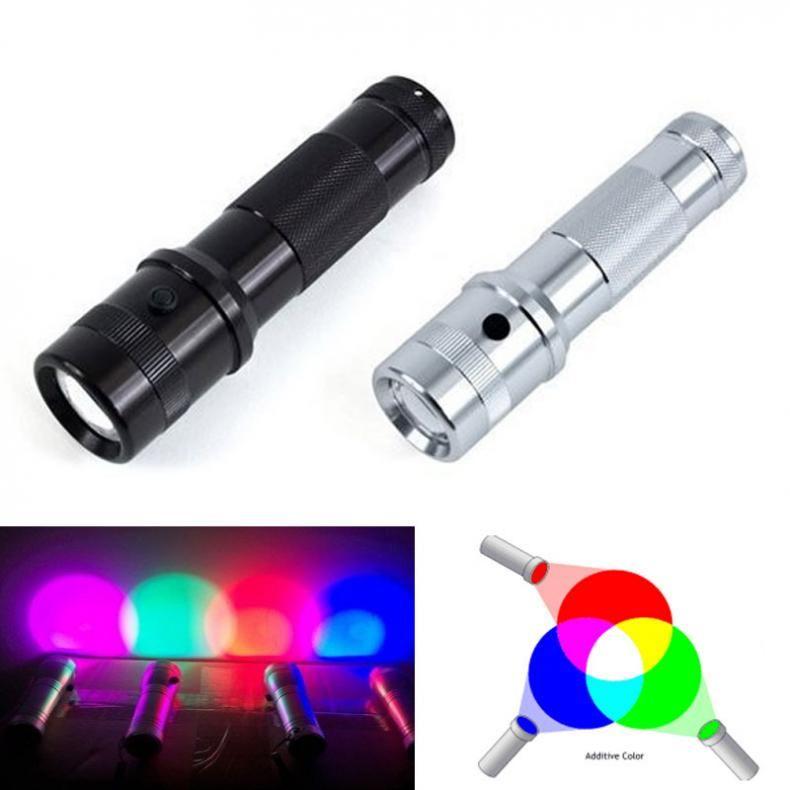 2019 nouveau Colorshine couleur changeante RGB lampe de poche LED 3W alliage d'aluminium RGB Edison LED multicolore LED arc-en-ciel de 10 couleurs torche