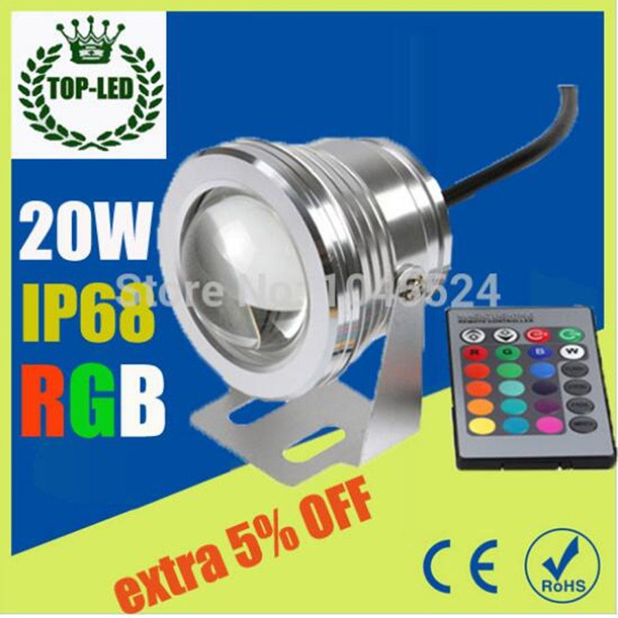 20 W 12 v sous-marin RGB lumière Led étanche ip68 fontaine lampe de piscine Lights16 changement de couleur + IR télécommande Led spots