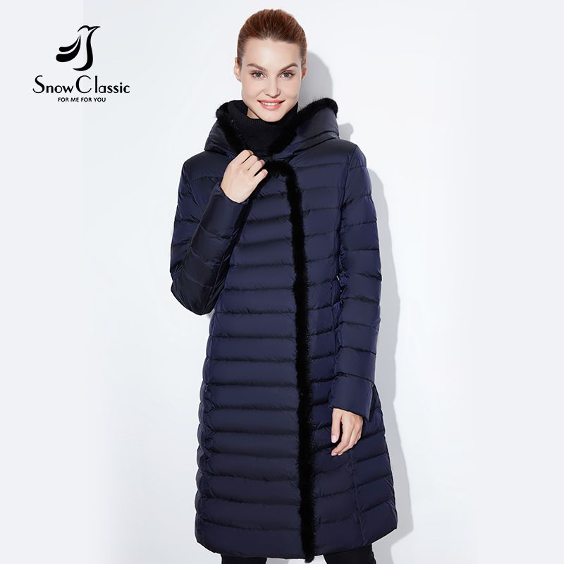 SnowClassic 2018 new jacket women warm winter long coat fashion spring outwear solid slim thick jacket front edge fox fur collar