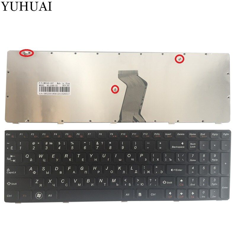 Russian Keyboard for Lenovo G580 Z580 Z580A G585 Z585 RU BLACK FRAME Laptop Keyboard