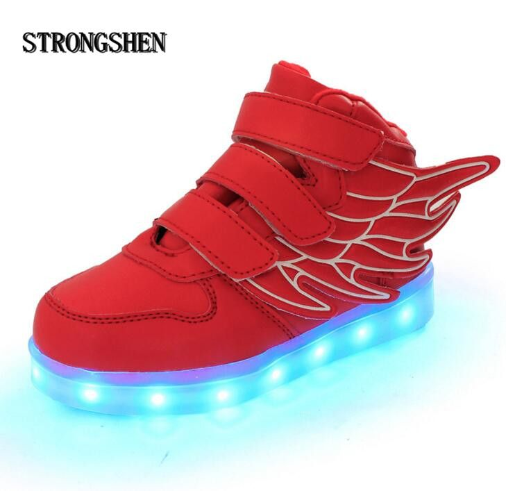 STRONGSHEN Summer Children Breathable Sneakers With Light Sport Led USB Luminous Lighted Shoes for Kids Boys Casual Girls Flats