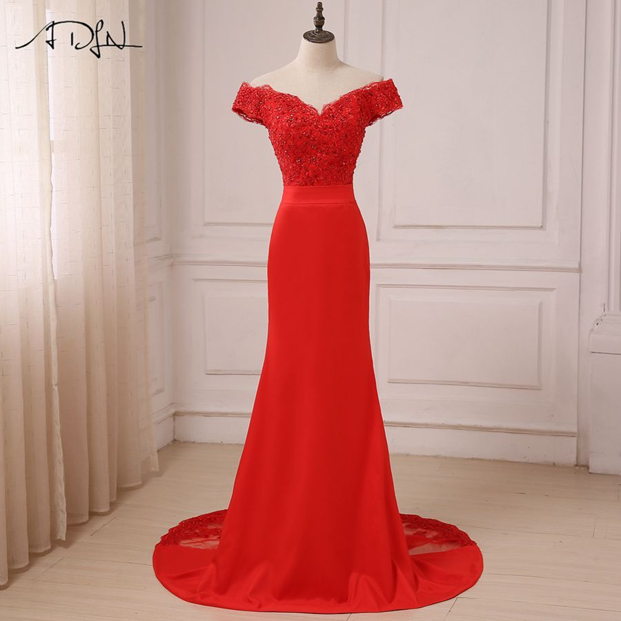 ADLN Red Sexy Evening Dress 2018 Cheap Off The Shoulder Beads Long Mermaid Formal Party Gowns vestido de festa longo