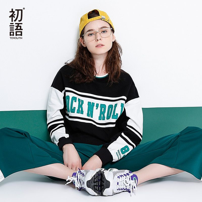 Toyouth Women Sweatshirts Casual Letters Print Pullover Hoodies 2018 Spring Contrast Color Cotton Striped Crop Tracksuit
