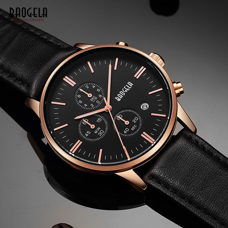 BAOGELA Men's Chronograph Quartz Watches Classic <font><b>Rose</b></font> Gold Leather Strap Analogue Wrist Watch for Man Luminous Hands 1611PD-MH